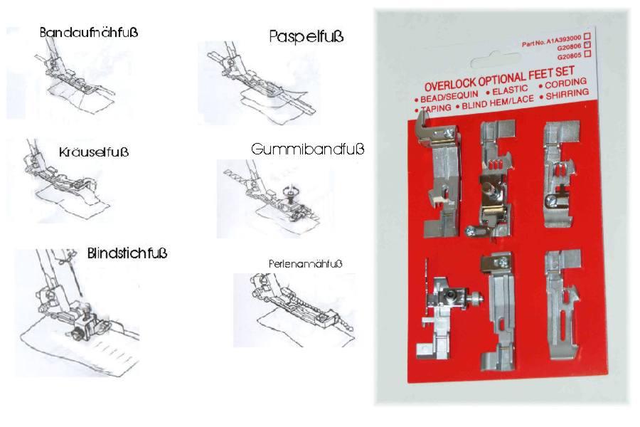 Nähfußset für Overlock / Coverlock